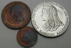 TURKEY 1, 10 Kurus & 1 Lira 1979/1980 - 3 Coins. - 1548