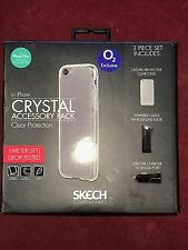 Skech iPhone 7 + /6s +/6+  Crystal Clear Case, Tempered Glass & USB Car Charger
