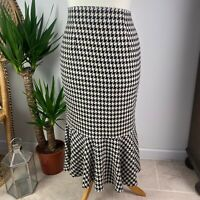 Marks and Spencer Houndstooth Midi Wiggle Skirt with Fill Hem Work Office Sz 14