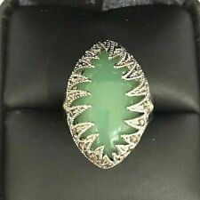 Vintage Carved 7.26 Ct Natural Oval Jade Ring Woman Wedding Jewelry Size 8