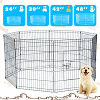 Pet Playpen Dog Cage Kennel Crate 8 Panel Metal Enclosure Fence Indoor Outdoor