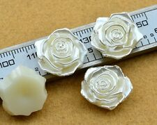 10PCS Half Plastic Pearl Bead Flower Rose Scrapbook Craft Flatback Beads D244