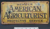 1941 American Agriculturist Protective Service Member Embossed Tin Sign