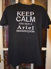 ARIEL MOTORCYCLE  KEEP CALM AND RIDE ON DESIGN  FOTLOOM  TSHIRT  EMBROIDERED