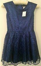 DAVID CHARLES Girls' Pleated Lace Navy Dress - Size 7 - BNWT - Retail $425