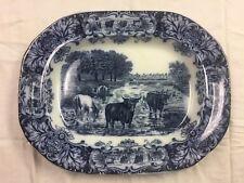 Antique Wedgwood Flow Blue Cow Pattern Platter, excellent condition!!