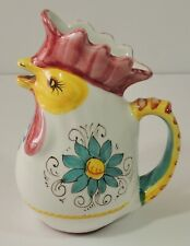 Deruta Hand Painted Ceramic Rooster Creamer Pitcher Signed New