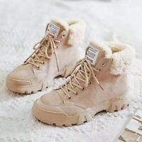 Classic Women Winter Suede Shoes Snow Warm Fur Plush Fashion Ankle Boots Lace-Up
