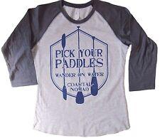 Woman Coastal Nomad Baseball 3/4 sleeve t-shirts pick your paddle board SUP