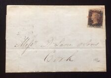 QV 1840 1d Black On Cover Red MX Cancel & Cork Hand Stamp