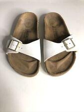 Birkenstock Madrid Narrow Fit White Animal Print Sandals - Size 7/EUR 40