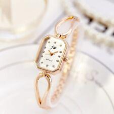 Rose Gold Women`s Rectangle Faced Rhinestone Quartz Split Bracelet Watches