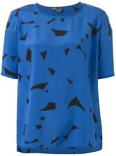 Vince Abstract Print Silk short sleeve CERULEAN BLACK Top L