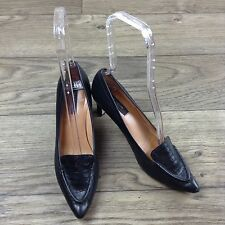 Ann Taylor Black Leather Pointy Toe Pumps Heels Reptile Alligator Print Top Sz 7