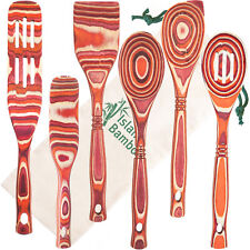 Island Bamboo Red Pakka Wood 6-Piece Kitchen Utensil Set Cooking Spoons Tools