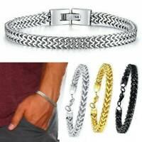 Luxury Men's Stainless Steel Chain Link Bracelet Wristband Bangle Jewelry