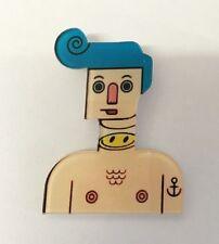 Funky Quirky Harajuku Robot Boy Anchor Smiley Face Tattoo Kitsch Pin Brooch