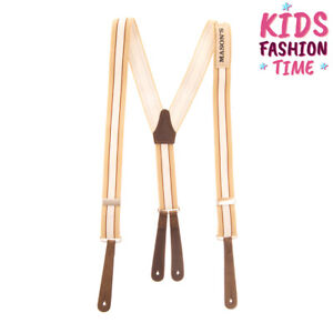 RRP €245 MASON'S Elasticated Y-Back Braces Suspenders One Size Striped Button