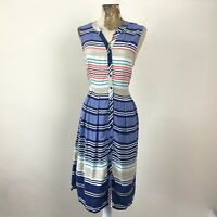 TU Dress 12 Aline Colourful Striped Shirt Sleeveless Fit Flare Tea Sundress Knee