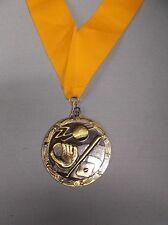 "gold Baseball medal with wide gold neck drape 2 1/2"" diameter"