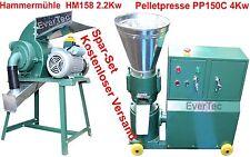 Pelletpresse pp150c 4kw & martillo hm158 2.2kw madera & animal pellet prensa set