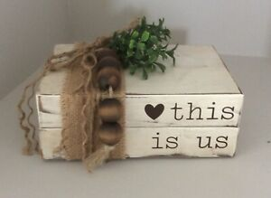 """""""This Is Us"""" Wooden Stacked Books Decor Farmhouse Style"""
