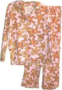 Victoria's Secret 2pc Flannel Pajama Set Size M Gingerbread Man Cookie