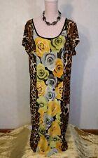 Mlle Gabrielle 2X Maxi Shift-Sheath Strap Grid Back Neck Floral+Cheetah print