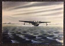 WWII Mars Marine Martin Seaplane Watercolor signed Kameron Kent Original Rare