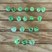Vintage Lot of 19 Green Mint Caged Cat's Eye Marbles