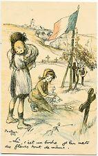 guerre. 14/18. patriotique.patriotic.enfants sur tombe allemande signé POULBOT