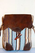Recycled Handmade organic cotton w/t Leather mix multi-color shoulder bag