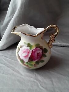 """Vintage Porcelain Hand Painted Gold Trim 3.5"""" Pink Roses Yellow Creamer Pitcher"""