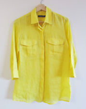 Sportscraft Size 6 Bright Yellow Ramie 3/4 Tab Sleeve Collared Shirt Top Blouse