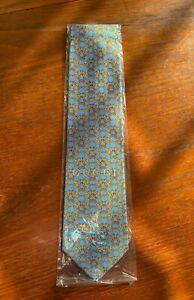 GUCCI Men's Designer Vintage Horse Bit Silk 100% Silk Tie Rare Blue Yellow