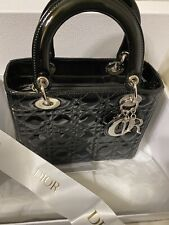 Auth Christian Dior Blk Patent Leather Lady Dior Handbag Silver Hardware Med Bag