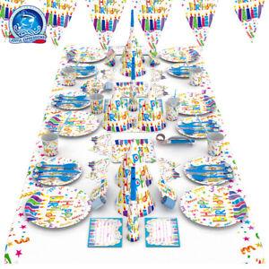 Rainbow candle happ Birthday Party Range - Tableware cups plates napkins or decs