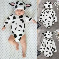 Infant Baby Girls Boys Lovely Cow Print Bodysuit Romper+Ear Hats Outfits Clothes