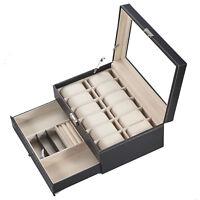Uhrenbox für 12 Uhren mit Schmuckaufbewahrung | Schmuckkasten | Uhrenkasten
