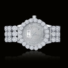 Real Diamond White Gold Custom Roman Flower Ice House Luxury Watch W/Date Men's