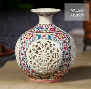 Handmade Hollow Ceramic Vase Pierced Porcelain Chinese Antique Reproduction #5