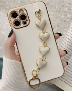 MOBILE PHONE CASE APPLE IPHONE 7/8/11/SE/X/XR/XS/MAX WHITE/GOLD HEART HAND CHAIN