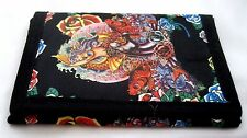 "Multi-Color Ed Hardy Style Fish and Roses Wallet Unisex Men's 4.5"" x 3"" W-New!"