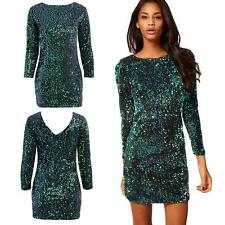 Sexy Women Bodycon Bandage Dress Party Evening Clubwear Sequin Mini Dress Z0N8