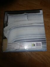 INDIGO STRIPED SEERSUCKER BLUES NAUTICAL Duvet set KING SIZE COTTON RICH *NEW*