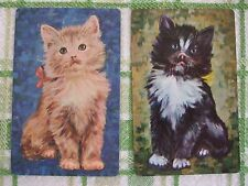2 x VINTAGE PLAYING/SWAP CARDS - CUTE CATS - KITTENS - MATCHING PAIR