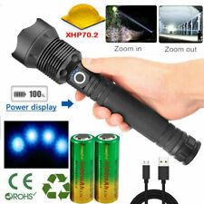Rechargeable 350000 lumens XHP70 Most powerful LED Flashlight USB Zoom Torch sn