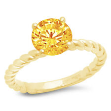 Wedding Bridal Promise Ring 14k yellow Gold 2 Round Cut Rope Knot Real Citrine