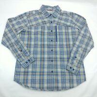 Columbia Sportswear Co Mens Medium Button Up Shirt Blue Plaid Front Pocket