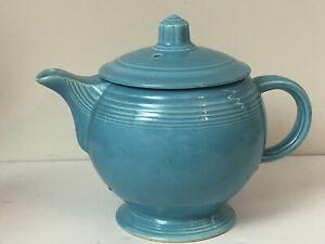 HLC Vintage Turquoise Medium Tea Coffee Pot Fiesta ware Teal Blue EUC